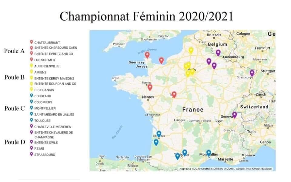Carte du championnat féminin